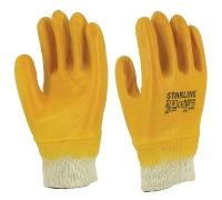 Перчатки STARLINE нитрильные облегченные с полным покрытием и вязаной манжетой E-201