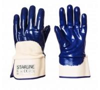 Перчатки STARLINE нитрильные с неполным покрытием и твердой манжетой E-371